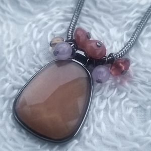 Apostrophe Faceted Brown Pendant Metal Necklace